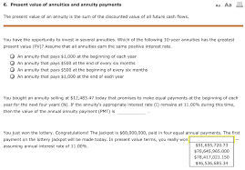 Solved 6 Present Value Of Annuities And Annuity Payments