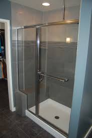 tiled shower built in bench glass front and door