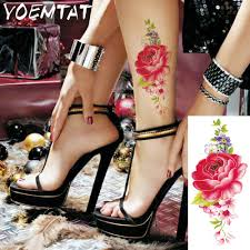 Caviglia Red Rose Fiori Spalla Braccio Tatuaggio Adesivi Flash Henné