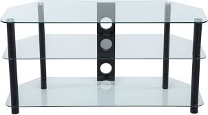 stealth mounts 1000mm clear glass black legs tv stand for tvs up to 50