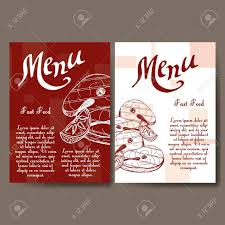 A La Carte Menu Template Cafe Menu With Hand Drawn Design Fast Food Restaurant Menu Template
