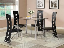 black glass dining room table set and with 4 or 6 faux leather chrome new