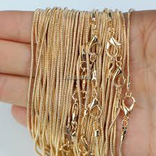 <b>10pcs</b>/<b>lot</b> KC <b>Gold Color</b> 1.2mm Snake Chain Necklaces for Women ...
