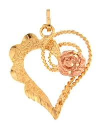 pendant charm 14k yellow gold open heart with rose gold rose flower diamond cut