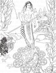 Small Picture Fantasy Merman Adult Coloring Page Digi Stamp Instant Download