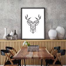 office canvas art. Geometric Stereosco Animal Deer Head Canvas Art Print Poster Paintings For Lliving Room Office Wall Pictures Home Decor No Frame-in Painting \u0026 Calligraphy N