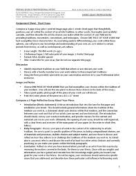 short essay instruction sheet traditions essays