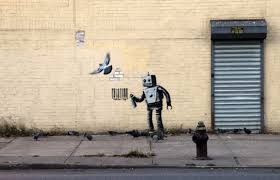 i was beginning to feel a little sore that the much ballyhoo d month long residency of banksy perhaps the world s most famous graffiti artist  on most famous wall artist with famed street artist banksy hits coney island with robot painting at