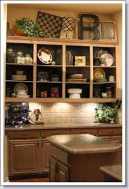decor above kitchen cabinets. Above Kitchen Cabinets- Cute Display. Note The Darker Colour Inside Shelves. Decor Cabinets