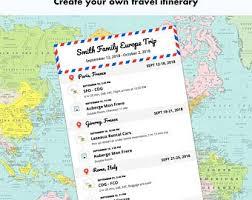 Trip Itinerary Etsy