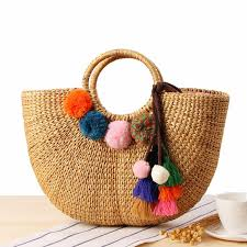 summer beach bags. Beautiful Bags 2018 Handmade Beach Bag Straw Totes Summer Bags With Tassels Pom  Pompon Women Natural Basket Handbag High Quality C234 Ladies Handbags Leather  Intended I