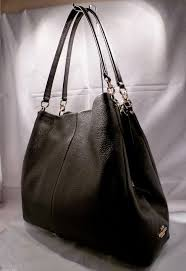 Nwt coach phoebe black pebbled leather shoulder handbag hobo 35723 ...