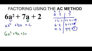 Ac Method Factoring Quadratic Trinomials Using Ac Method Lesson 1 Youtube