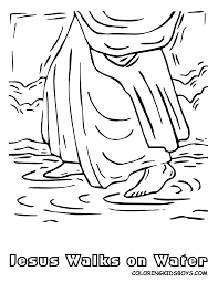 Religious Jesus Walks On Water Coloring Page Free Printable