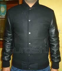 sheepskin leather sleeves varsity jacket black black