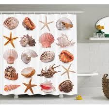 Seashells Decor Shower Curtain Set Seashell Collection Scallop Nautilus Mollusk Summer Holiday Destinations Nature Spiral Marine Bathroom