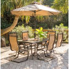 outdoor dining sets with umbrella. Outdoor Dining Sets \u003e Monaco 7-Piece Set With Six C-Spring Chairs, A Tile-top Table, 9 Ft. Table Umbrella, And Umbrella Stand