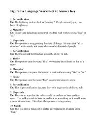 Figurative Language Worksheet 4   Answers