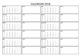 Calendar Excel Template 2018 Calendar Excel A3 With Notes Download Our Free