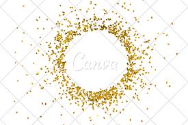 Gold And White Background Design Circle Gold Glitter Splash Isolated On White Background