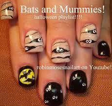 Cute Halloween Nail Art! 2 Nail Designs! Bats and Mummy Nails ...