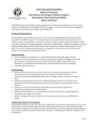 Adjunct Professor Resume Sample For Position New Formal Example With