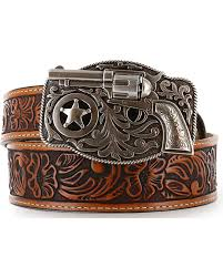 zoomed image justin kid s tooled leather belt brown