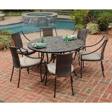round outdoor dining table set with regard to home styles stone harbor 7 piece patio taupe plan 13
