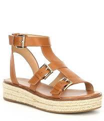 michael michael kors cunningham vachetta leather flatform sandals dillard s
