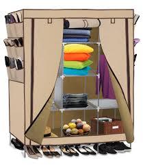 OxGord Portable Storage Organizer Wardrobe Closet & Shoe Rack, Customizable  Shelves, Stainless Steel Frame