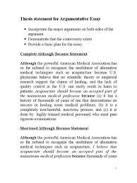 thesis statement for argumentative essay