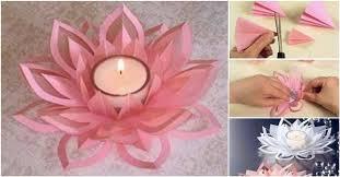 Paper Lotus Flower Diy Paper Lotus Candlestick