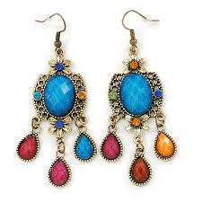 multicoloured acrylic bead chandelier earrings in antique gold tone 75mm l