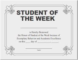 Student Of The Month Certificates Student Of The Month Certificate Template Admirably Certificates For