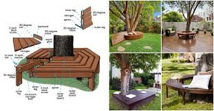 diy bench around tree archives my amazing things lifetime 44 in round picnic table with 3 swing out benches almond round picnic table with detached