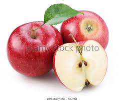 red apple slice. two red apple and half of isolated on a white background. - stock slice