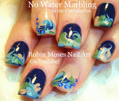Robin Moses Nail Art: Black and White No water Marble!