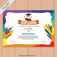 Children Certificate Template Colorful Childrens Diploma Template Vector Free Download