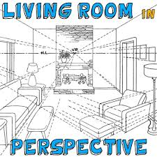 how to draw a room with perspective drawing tutorial of a living room