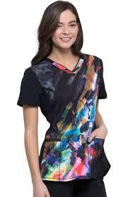 Womens V Neck Floral Spectrum Print Scrub Top
