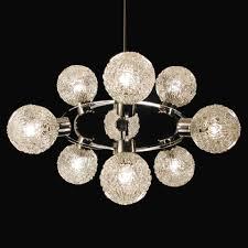 Vintage Kronleuchter Satelite Sputnik Orbit Lampe Chrom Weiß 70er