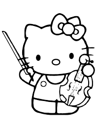 Fifi and hello kitty s you can printe0fa. Hello Kitty Playing Violin Instrument Coloring Page Free Coloring Home