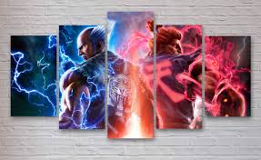 tekken 7 gaming 5 panel piece canvas wall art office in 2017 gaming on 7 panel canvas wall art with explore gallery of gaming canvas wall art showing 4 of 15 photos