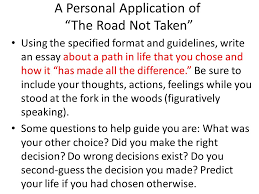 english iii american literature themes conflict discovery the a personal application of the road not taken using the specified format and guidelines write