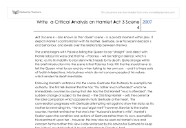 write a critical analysis on hamlet act scene a level  document image preview