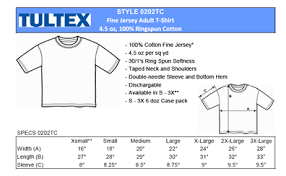 Tultex Size Chart Tultex Size Specifications For 0202 T Shirts Wholesale