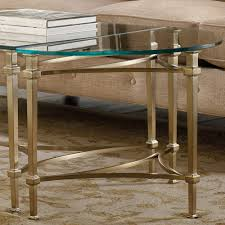 highland park glass top plated metal demilune end table in gold