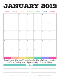 2019 Calendar Printable By Month 2019 Free Printable Calendars Lolly Jane