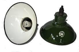 pair of green enamel pendant lights