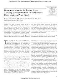 Pdf Documentation In Palliative Care Nursing Documentation
